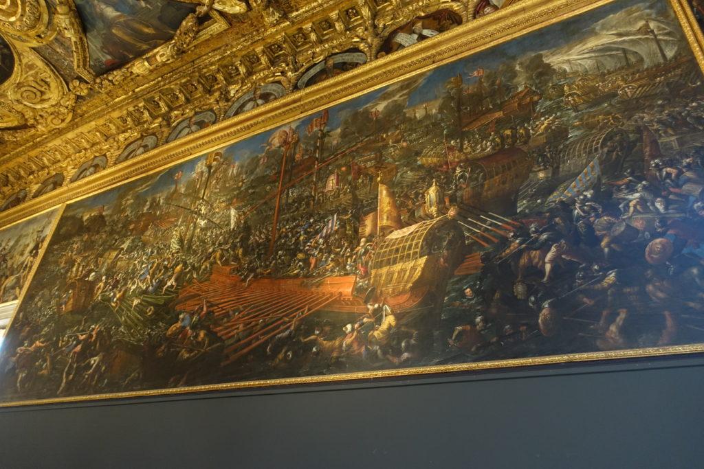 ドゥカーレ宮殿「レパントの海戦」の絵画