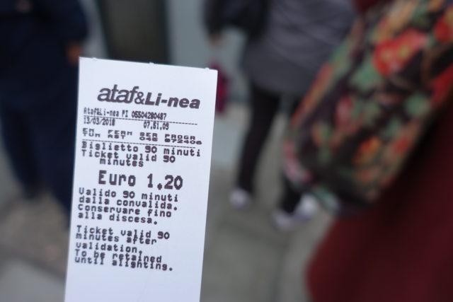 フィレンツェのトラムのチケット