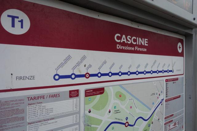 フィレンツェのトラムの路線図