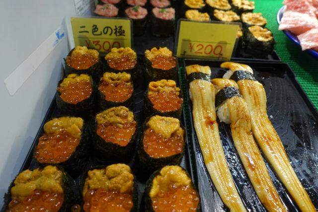 唐戸市場のお寿司(いくら、ウニ、アナゴ)