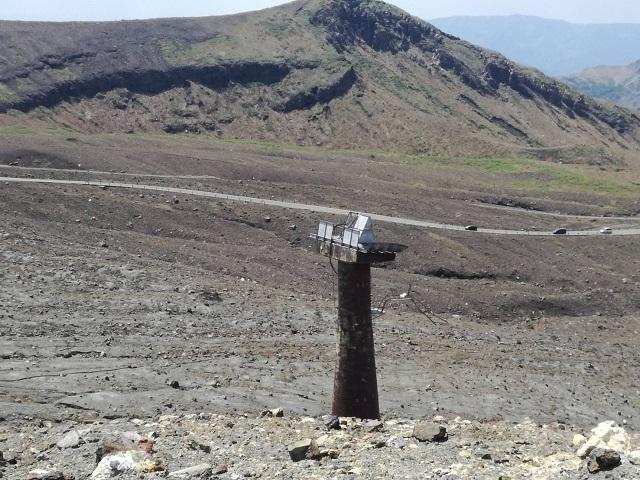 阿蘇火口のロープウェイの支柱